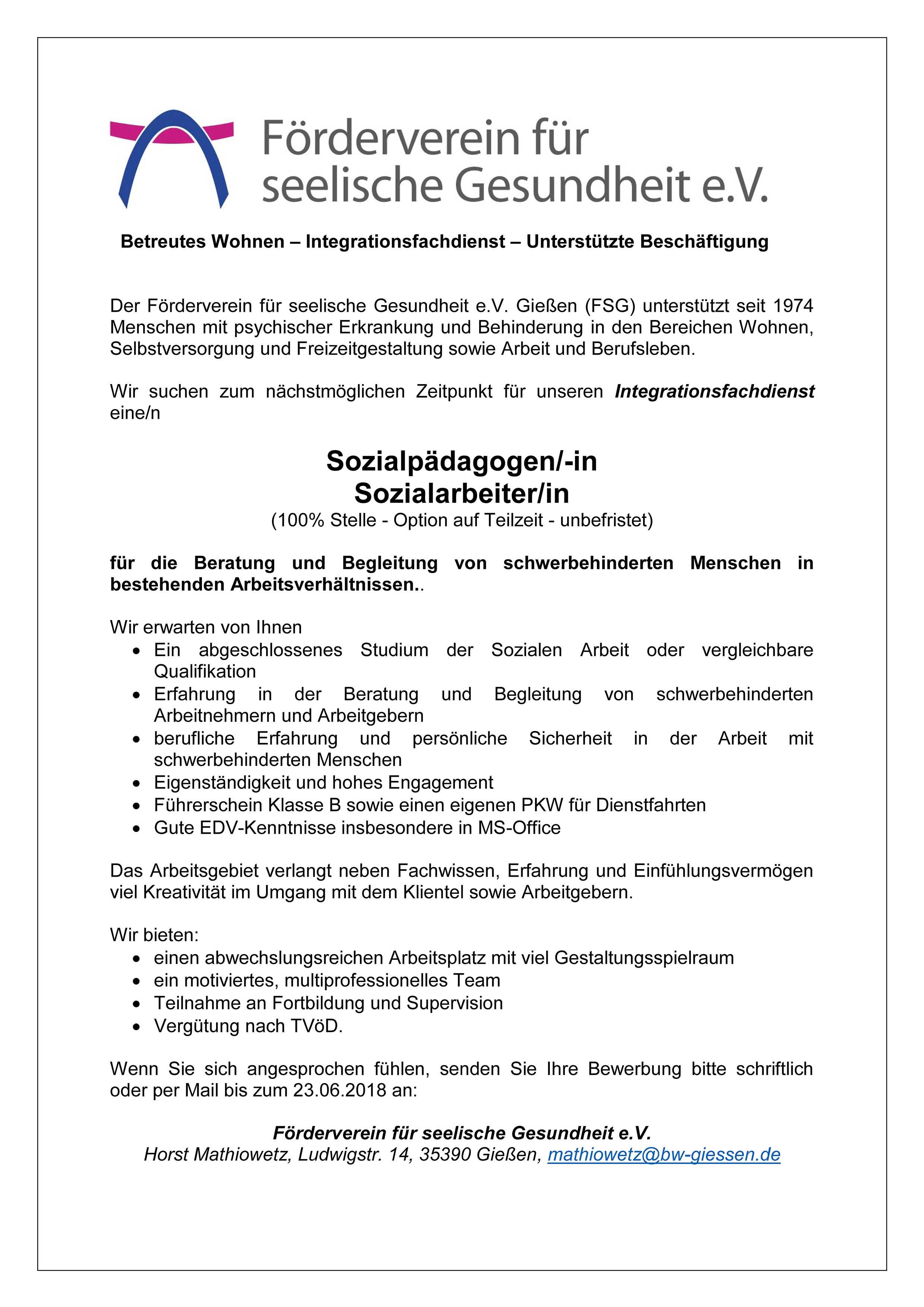 sozialpdagogen in oder sozialarbeiterin integrationsfachdienst - Bewerbung Sozialarbeiter